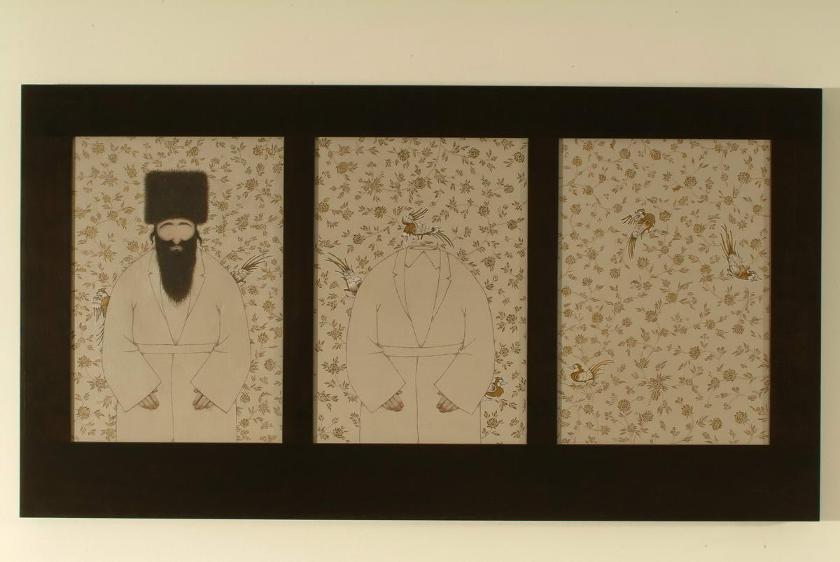 109Tree Rabbis_2002_wood and oil painting on canvas_70x36 cm