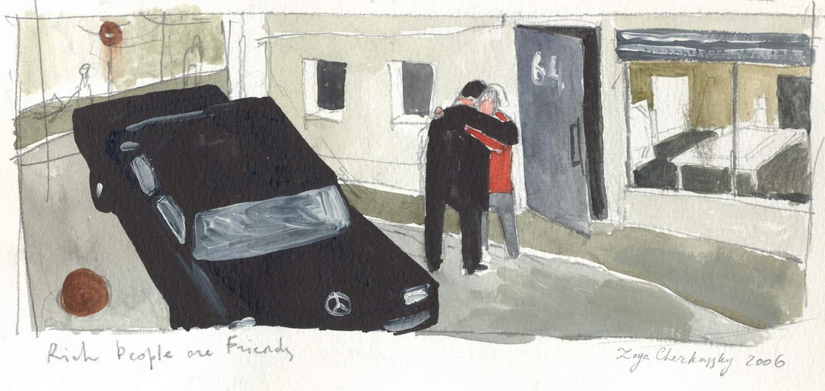 111Sketch for Rich People Are Friends_2006_watercolor and pencil on paper_ 11x22