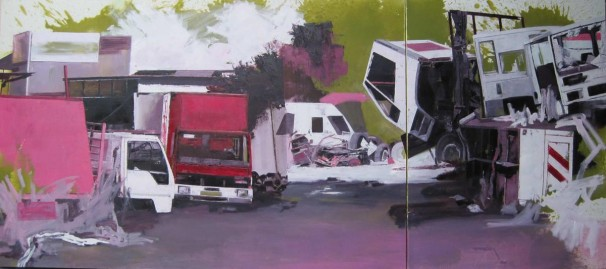 103Trucks_2010_oil on canvas_120x270 cm