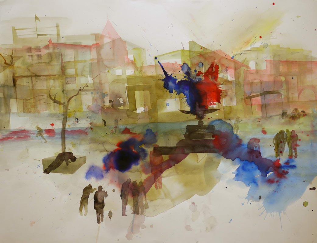 105 Shapira Neighborhood_2010_ ink and watercolor on paper_72x95 cm