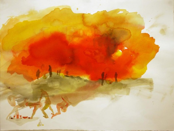 107Burning of the Chametz_2010_ink and watercolor on paper_56x76 cm