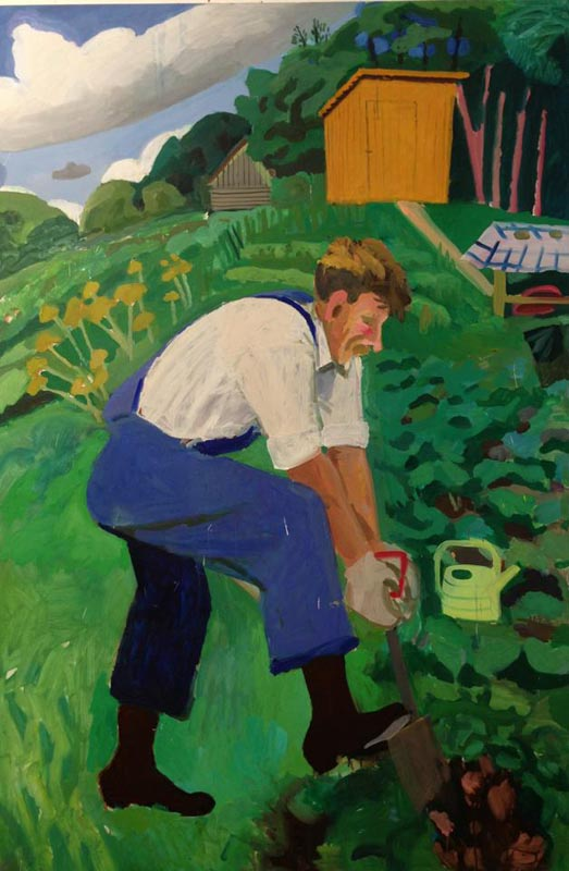 107Valerka's digging, Russia_2013_oil on canvas_180x120 cm.