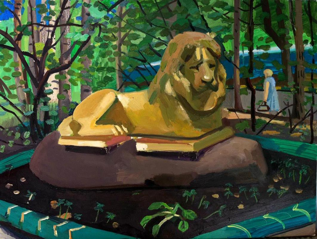 109Golden Lion in my childhood houseyard_Moscow_2013_oil on linen_45x60cm