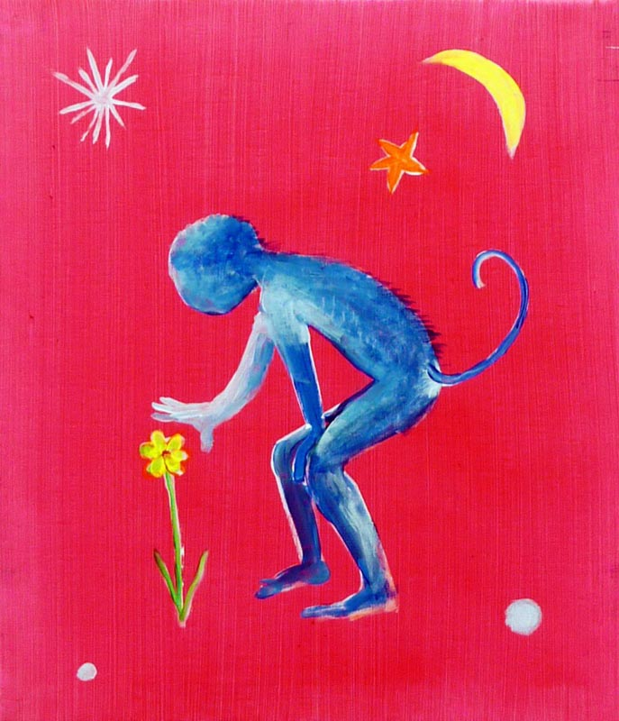 110Monkey Petting a Flower_2013_acrylic on canvas_45x30 cm