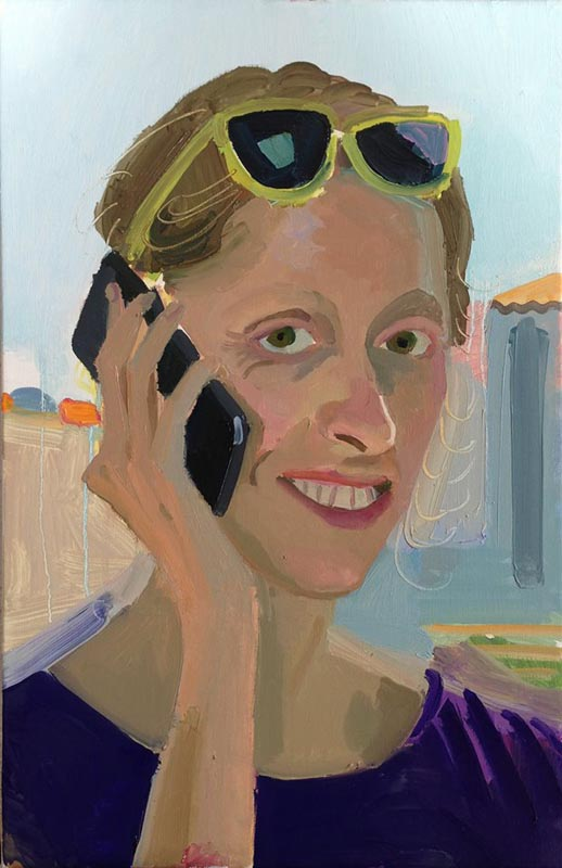 112Big smile with an Iphone_2013_oil on linen_52x34cm