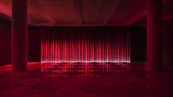 Neither Day Nor Night_2013_wood, formica, reflective fabric, lights, sound system