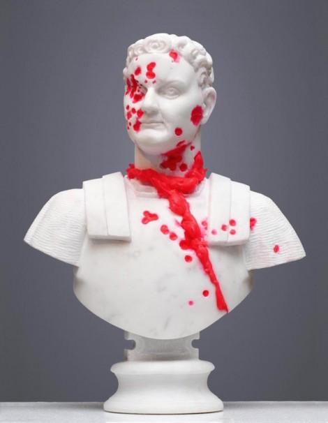 307Amor Ac Deliciae Generis Humani (Titus Flavius Vespasianus)_2013_marble, polyurethane and phosphoric color_64x50x22 cm