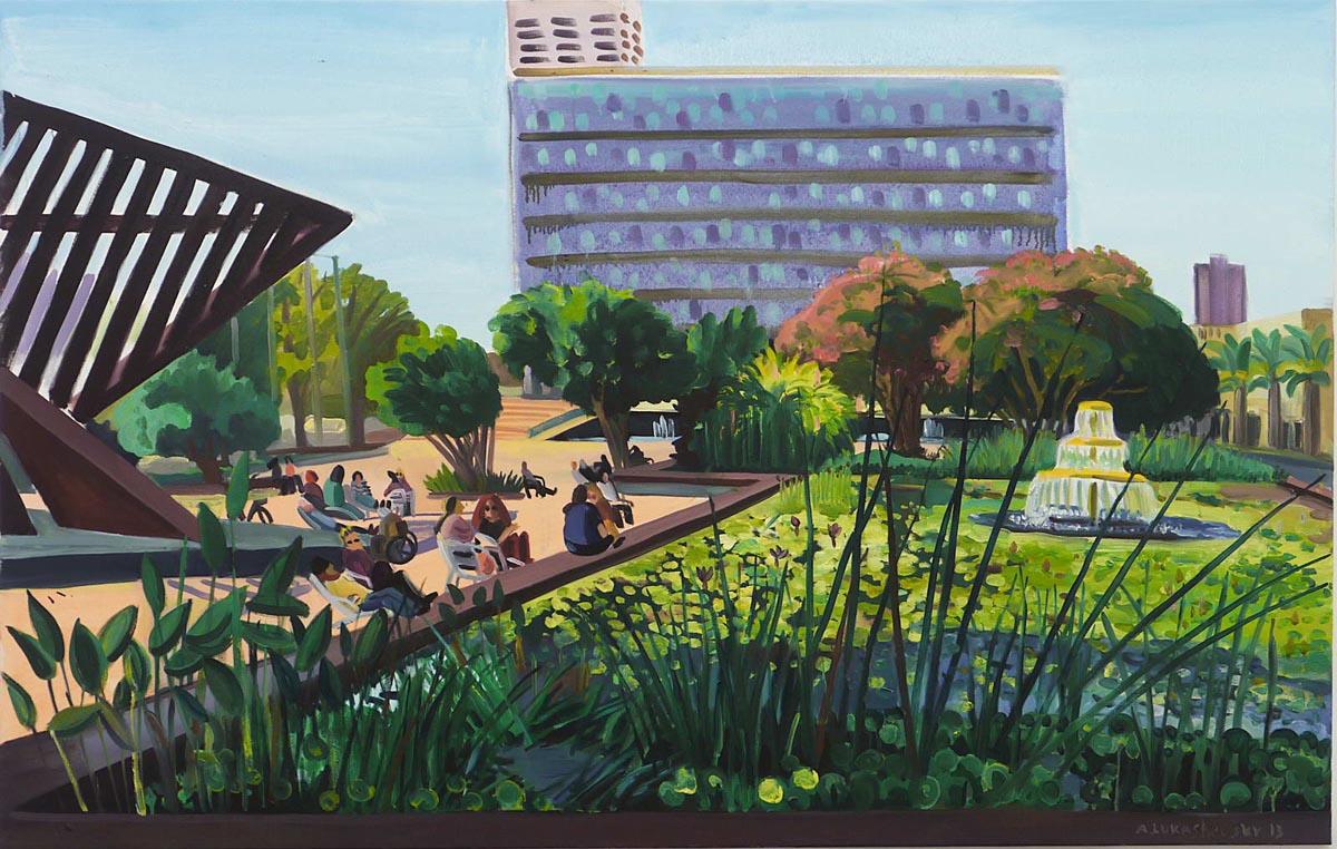 312Rabin square_2013_oil on canvas, 120X190 cm
