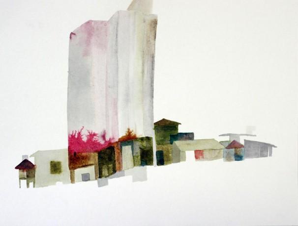 Kibbutz Nachshon, 2011, 21x30 cm, , Ink & Water color on paper