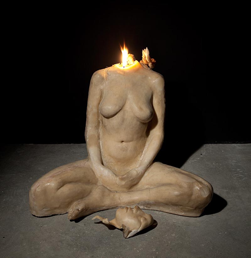 108Lotus Fire - Emptiness_2009_wax sculpture_90x70x50 cm