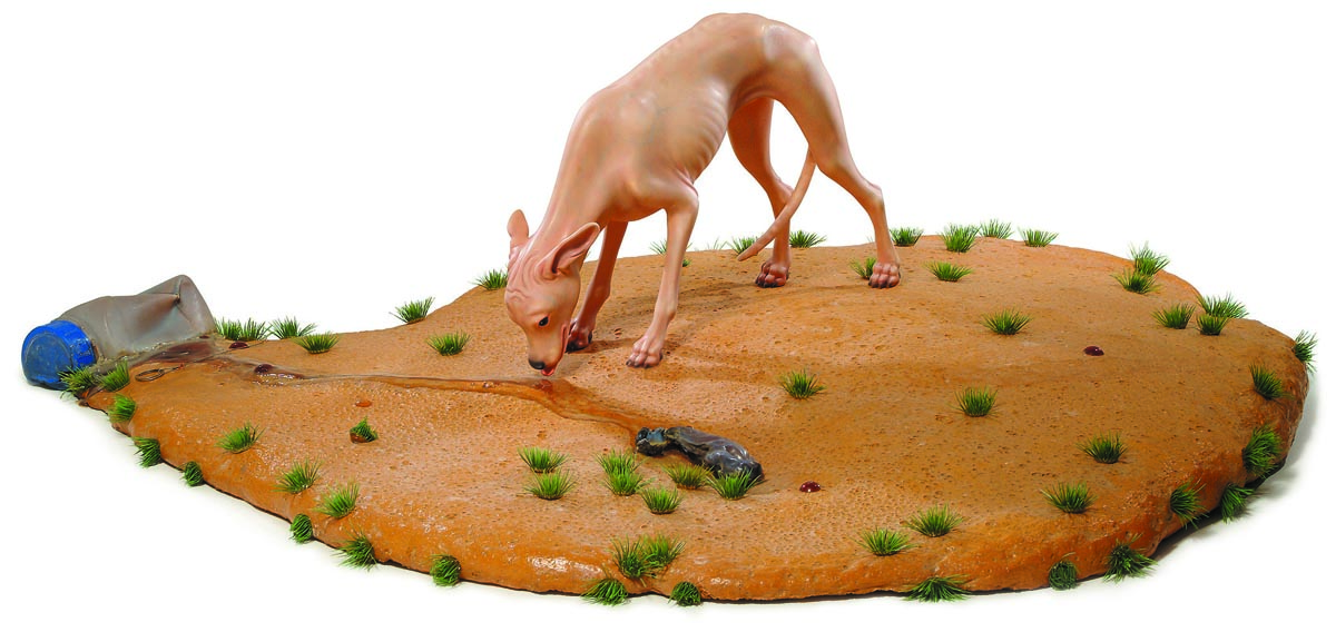 1021000 c.c. of a bi-componential foam, employed to reactivate a degenerated food chain_2003_Mixed media, sculpted and cast in polymeric materials_130x140x50 cm