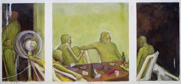 Oil & oil pencil on canvas, 2006, 150x340 cm.