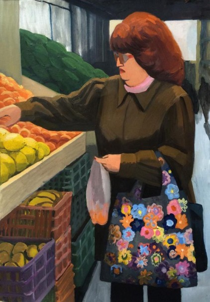 099 In the market_2015_oil on paper_100x70 cm