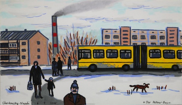 512The Yellow Bus_2016,_markers on paper_17x29.5cm