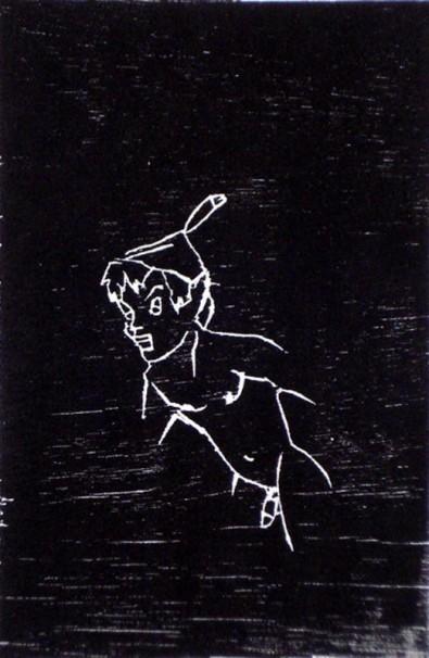 erez-israeli_peter-pan_2005_woodcut_38x28-cm