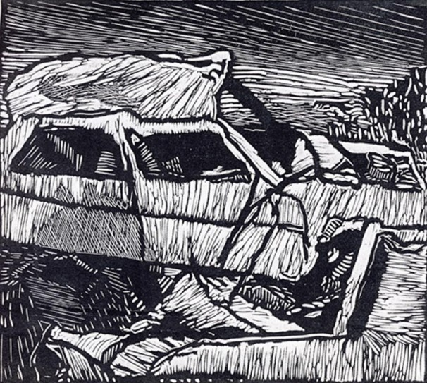 yochai-bar-on_cemetery_2014_woodcut_50x55-cm
