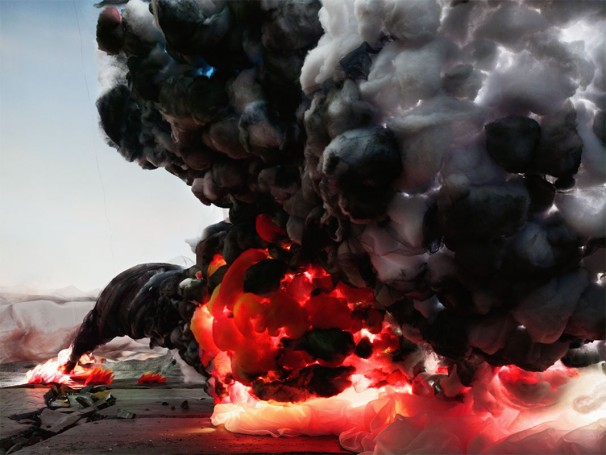 photograph of explosion coming at camera; fire; smoke; artificial landscape 2012 Chromogenic print, 135 x 100 cm (original ed/5)