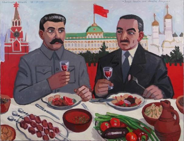 106Joseph Stalin and Anastas Mikoyan_2017_oil on linen_100x130 cm