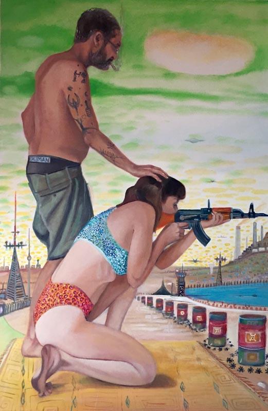 101 AK47 Shooting Training_ 2017_Oil on canvas_150x100 cm