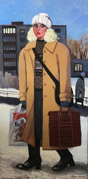 506Brown coat_2017_Oil on linen_180x90 cm