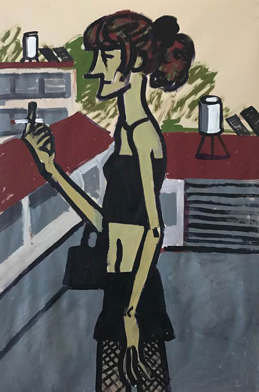 522Russian Prostitute from our Neighborhood_2017_Gouache and acrylic on paper_120x180 cm