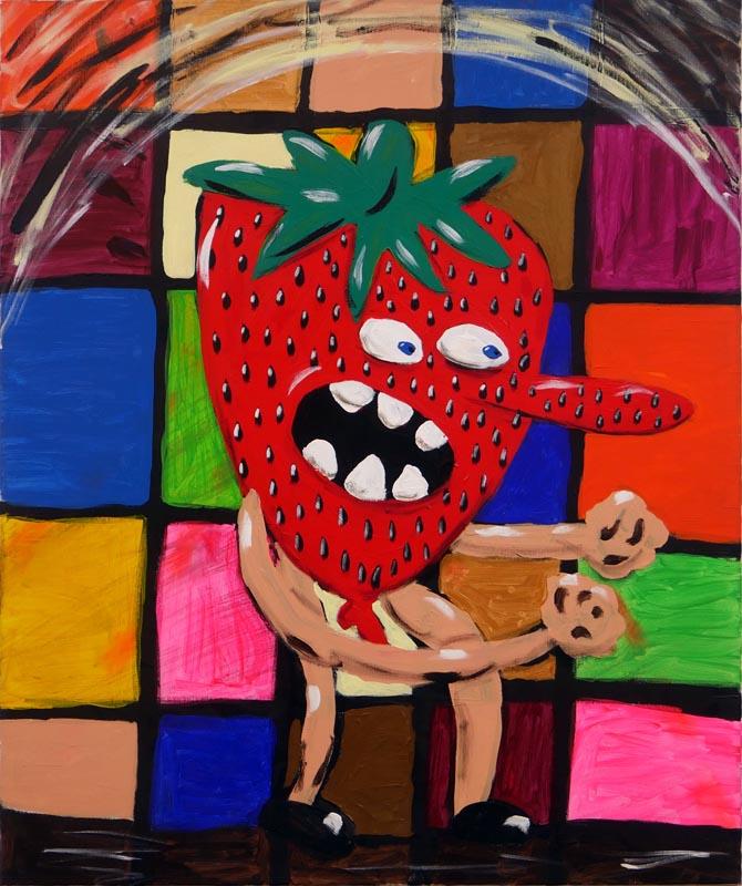 111Strawberry's War, Diptych_Acrylic on canvas_120x100 cm