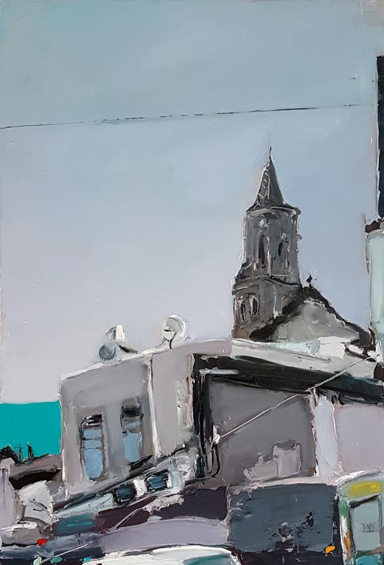 020A Church in Wadi Nisnas_ 2018_ Oil on linen,_95x60 cm