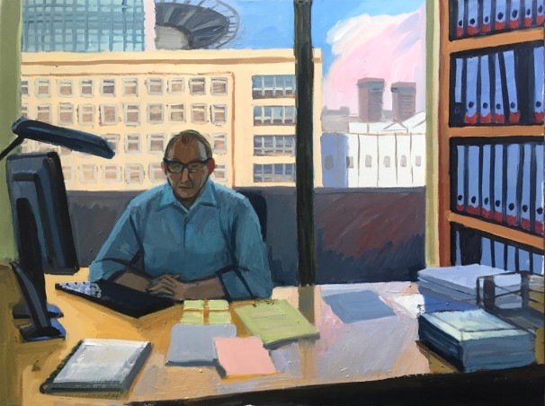 101Lawyer at the office 2018 Oil on canvas 120x90 cm