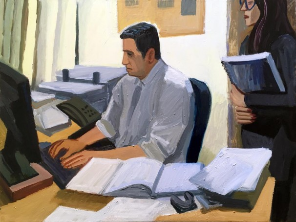 102Lawyer at work 2018 Oil on canvas 120x90 cm