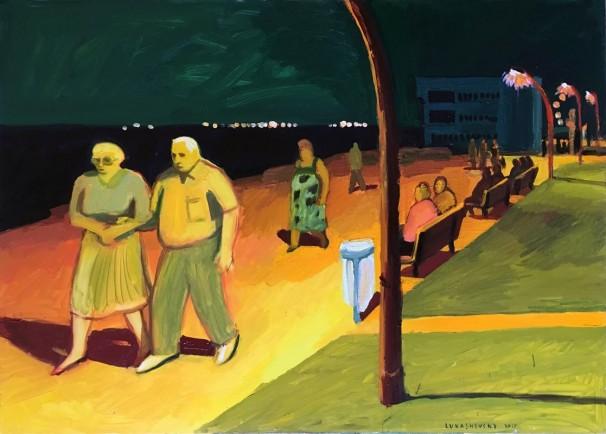 109Bat Galim promenade at night 2017 Oil on canvas 125x90 cm