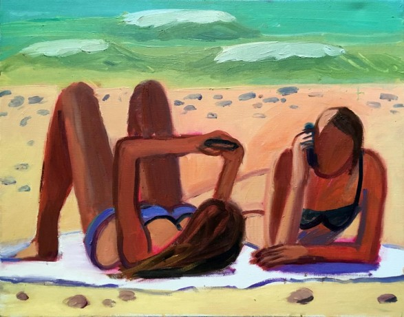 110Two girls at the beach 2018 Oil on canvas 70X90 cm