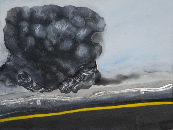 307Road_2015_Acrylic, synthetic leather, pencil, charcoal, mylar on wood panel_23x30 cm