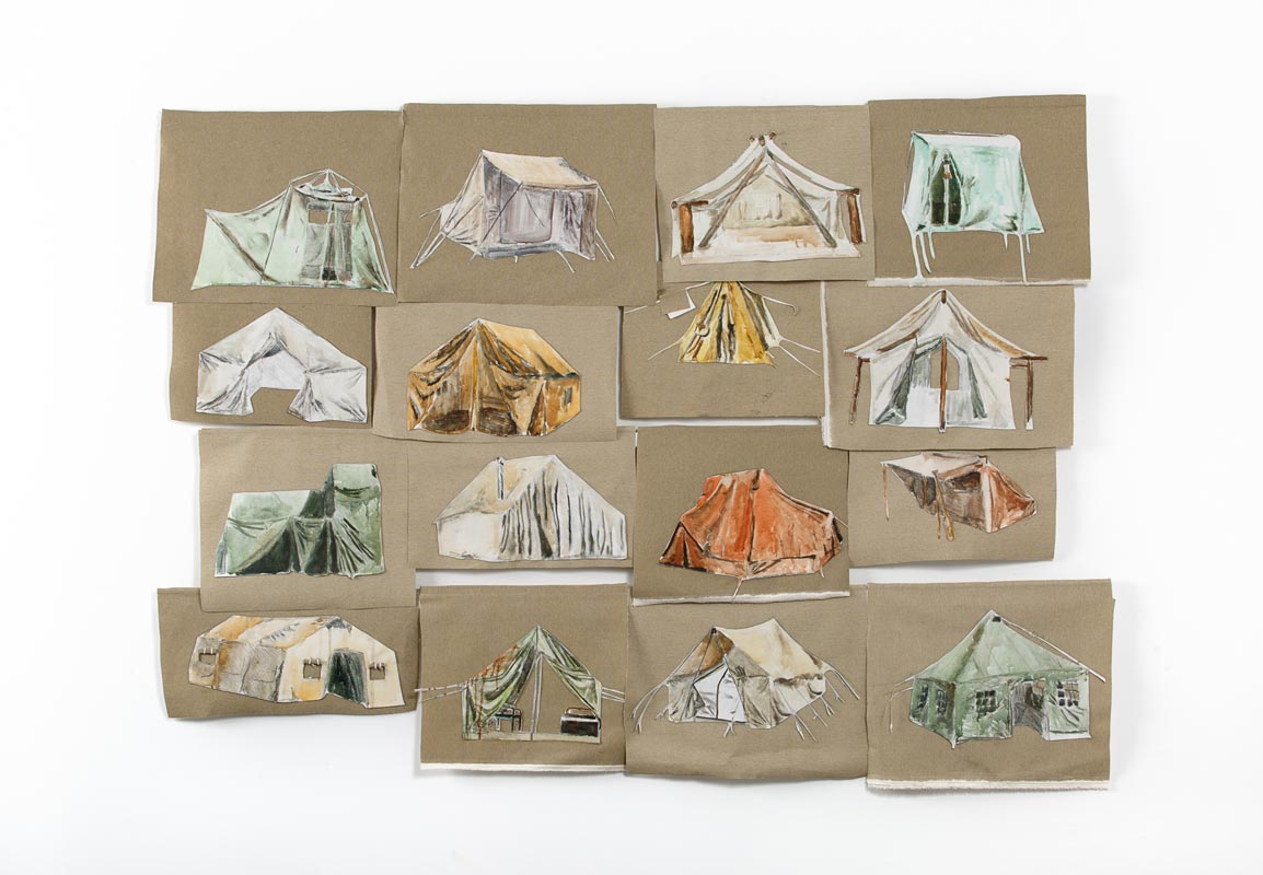 316Tents, 2017_Water color and charcoal_120x160 cm