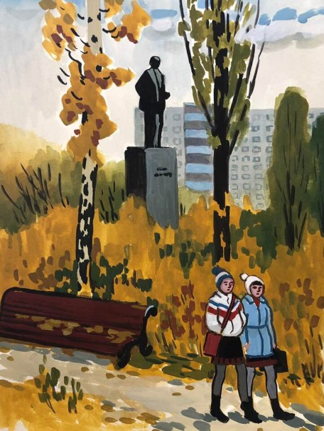 110Through the Park_2018_Watercolor on paper_31x23 cm