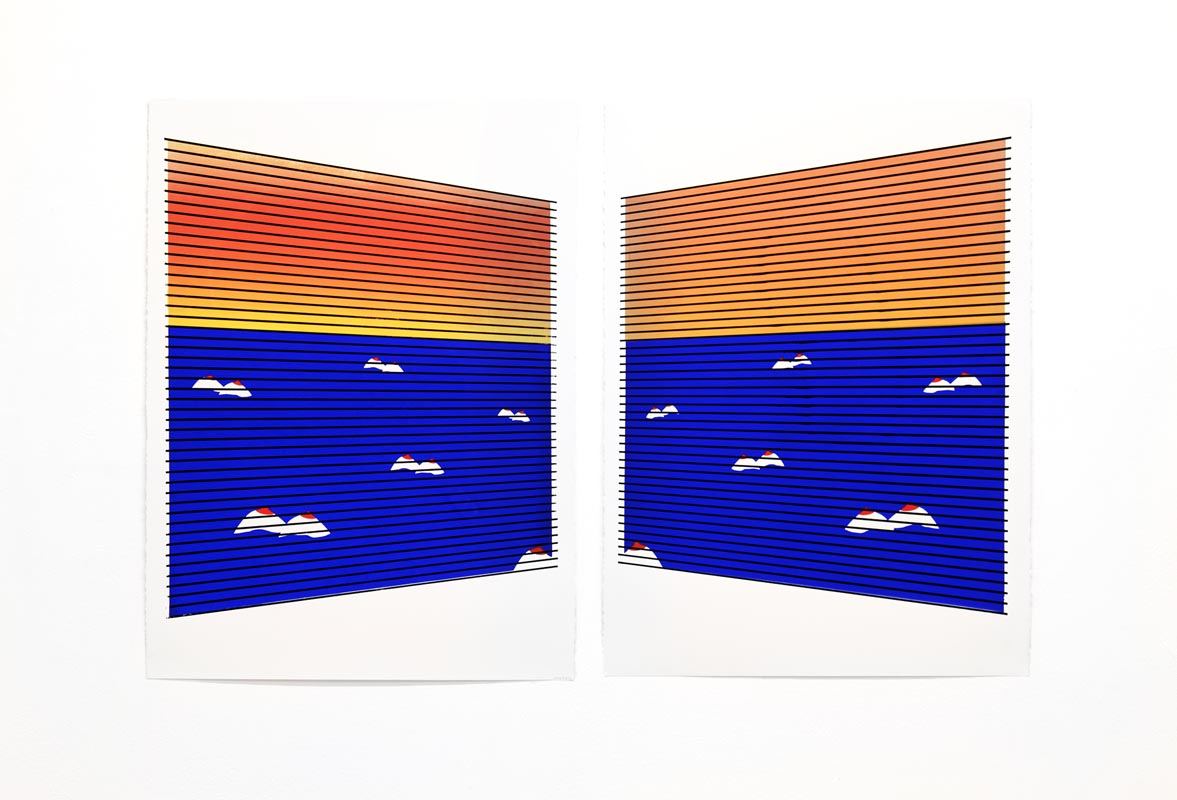 011Corner Office (Flotilla 7)_2017_screen print_ Acrylic on paper_ 56X89 cm (each)