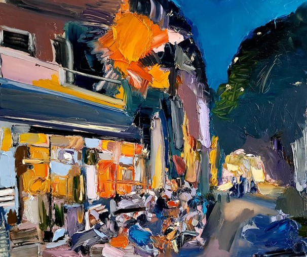 031Jerusalem Evening Cafe_2018_Oil on linen_50x60 cm