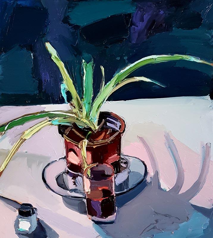 036Still Life with Black Mirror_2018_Oil on canvas_50x45 cm