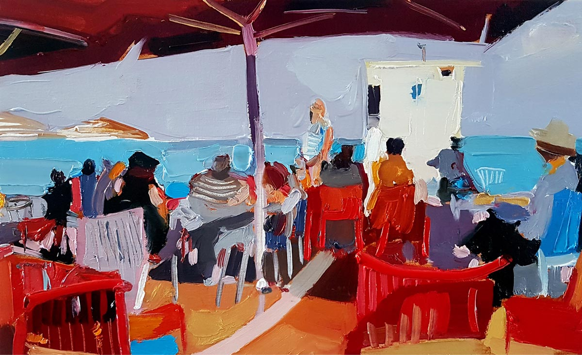 010Coffee at the Beach_ 2019_Oil on linen_30x50 cm
