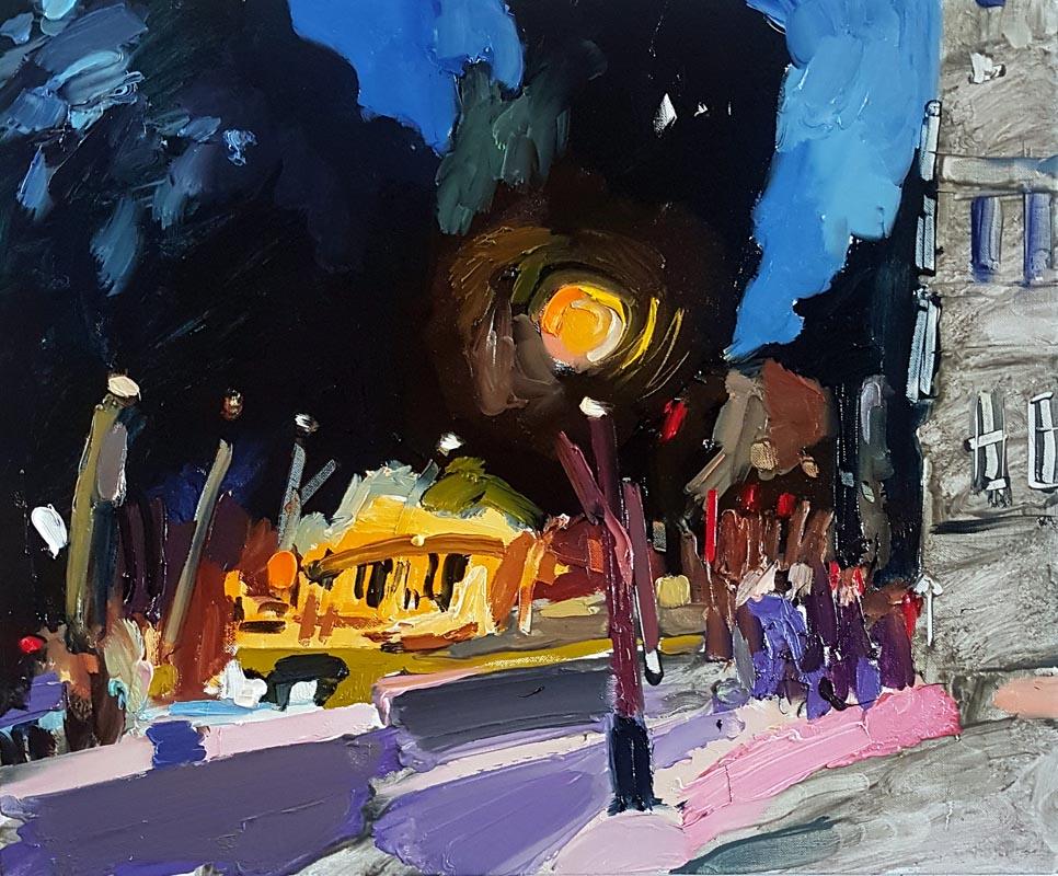 016Night Paris August_2019_Oil on linen_45x55 cm