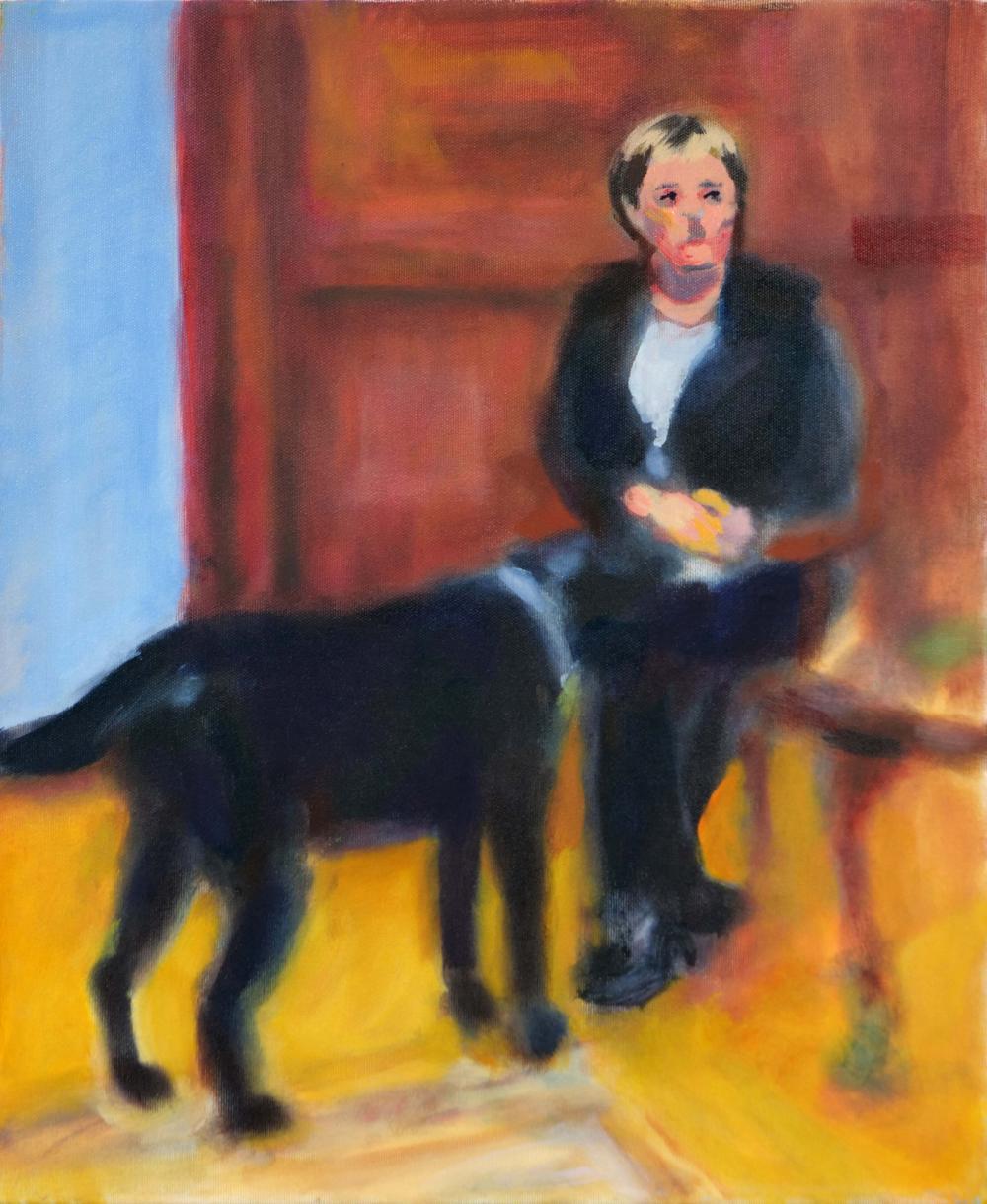 109Angela Merkel with Putins Bitch_ 2019_Oil on canvas_ 55x45 cm