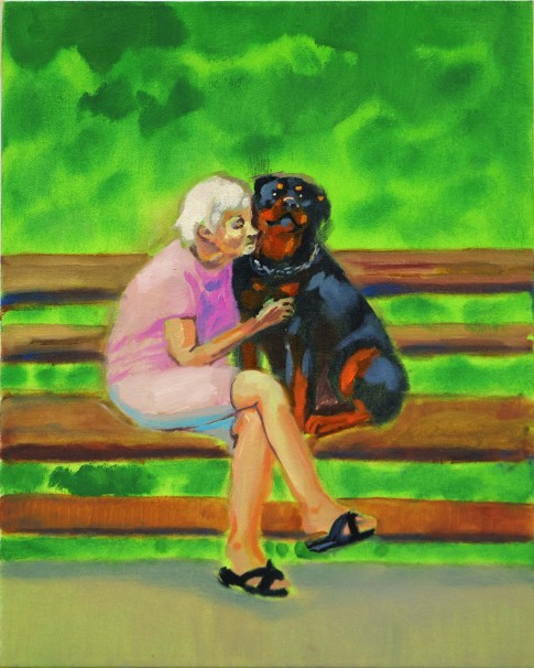 121Old Lady with a Rottweiler_2019_Oil on canvas_120x80 cm