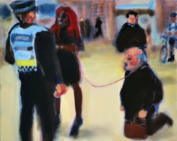 135Officer Arent Dogs Allowed on a Leash_2019_Oil on canvas_40x50 cm