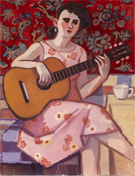 519 Woman Playing Guitar_2019_Oil on linen, 90x70 cm